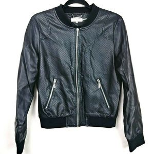 Calvin Klein Faux Leather Perforated Bomber Jacket